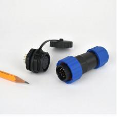 Csatlakozó 20mm IP68 védettség, 12 pin 5A