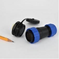 Csatlakozó 28mm IP68 védettség, 24 pin, 5A